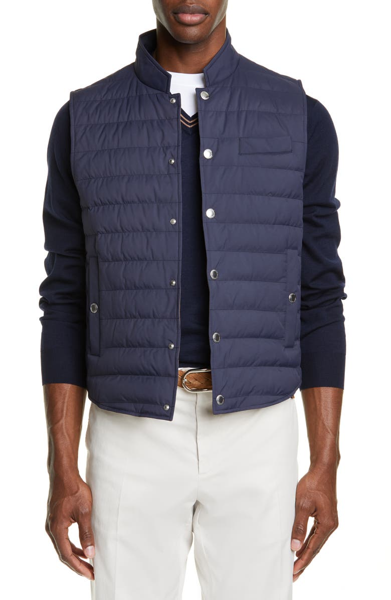 BRUNELLO CUCINELLI Quilted Nylon Vest, Main, color, BLUE