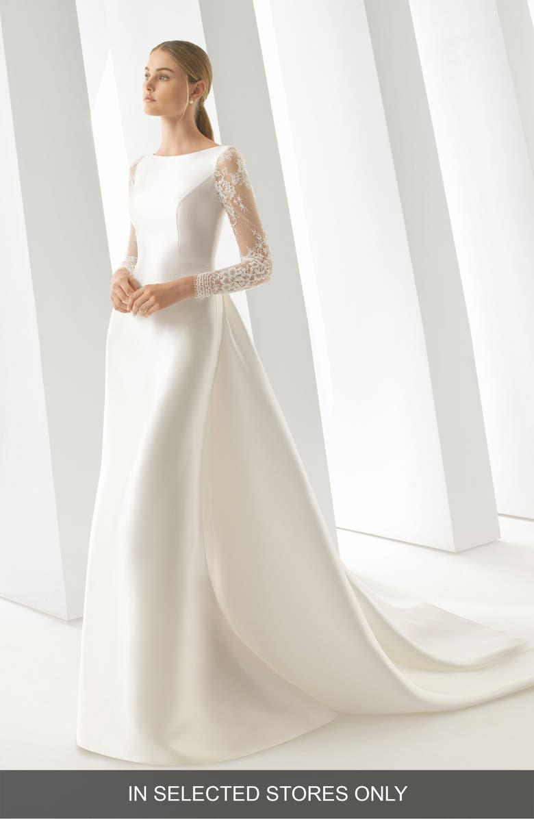 ROSA CLARÁ Doreen Column Gown with Detachable Train, Main, color, NATURAL