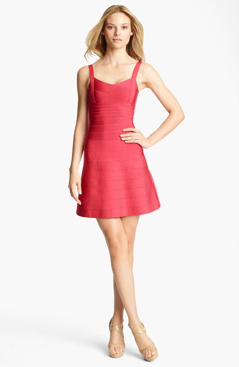 HERVE LEGER A-Line Bandage Dress, Main, color, 637