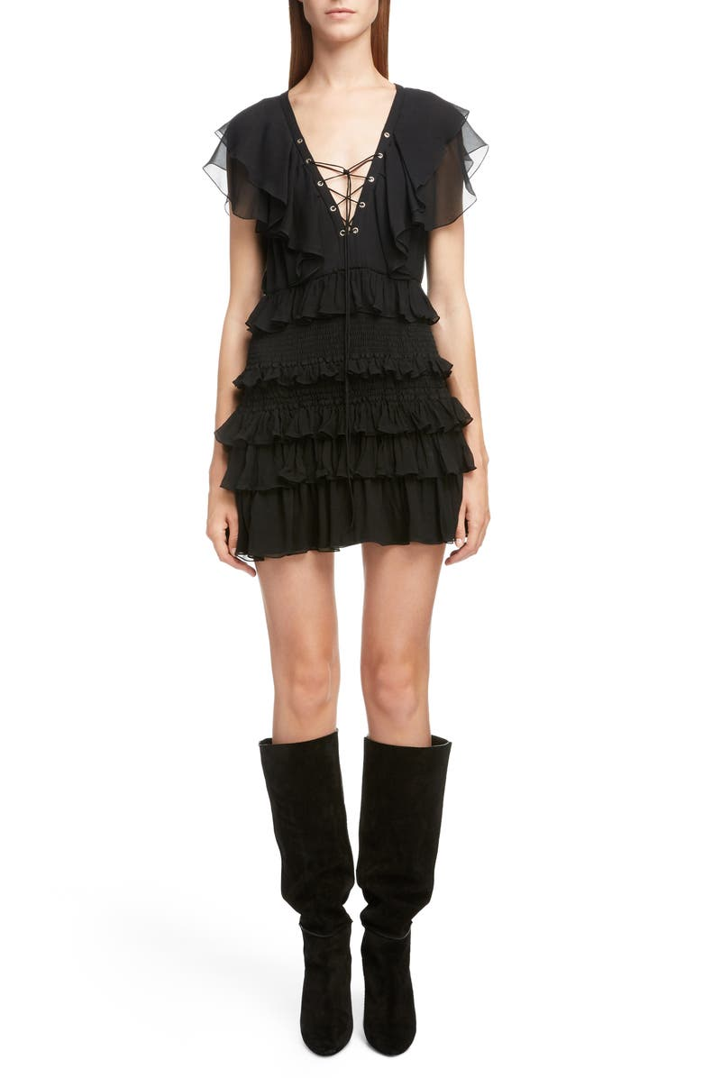 SAINT LAURENT Smocked Silk Ruffle Minidress, Main, color, 001