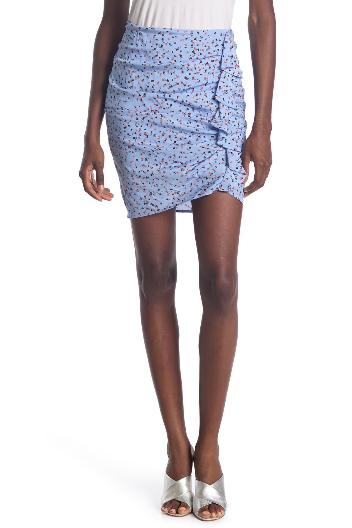 Image of VERONICA BEARD Spencer Floral Print Ruffle Skirt