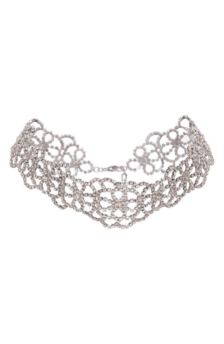 NINA Crystal Choker Necklace, Main, color, RHODIUM/ WHITE CRYSTAL