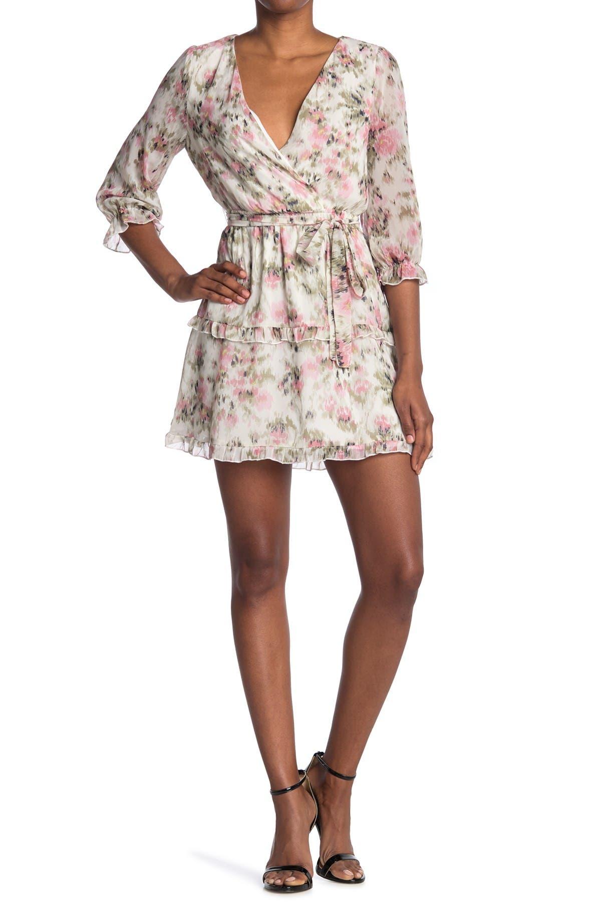 Image of KENEDIK Ruffle Trim Floral Print Surplice Neck Dress