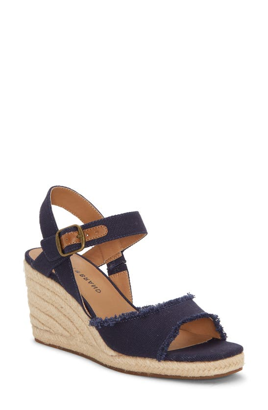 Lucky Brand Mindra Espadrille Wedge Sandal In Indigo Fabric