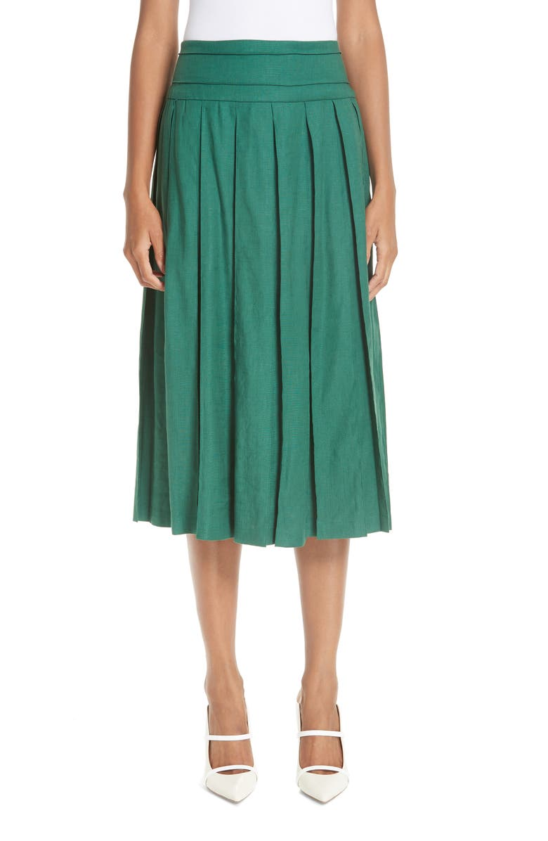 BY ANY OTHER NAME Box Pleat Linen Blend Midi Skirt, Main, color, FOREST GREEN