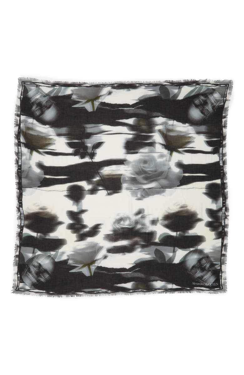 ALEXANDER MCQUEEN Warped Rose Modal & Wool Scarf, Main, color, 001