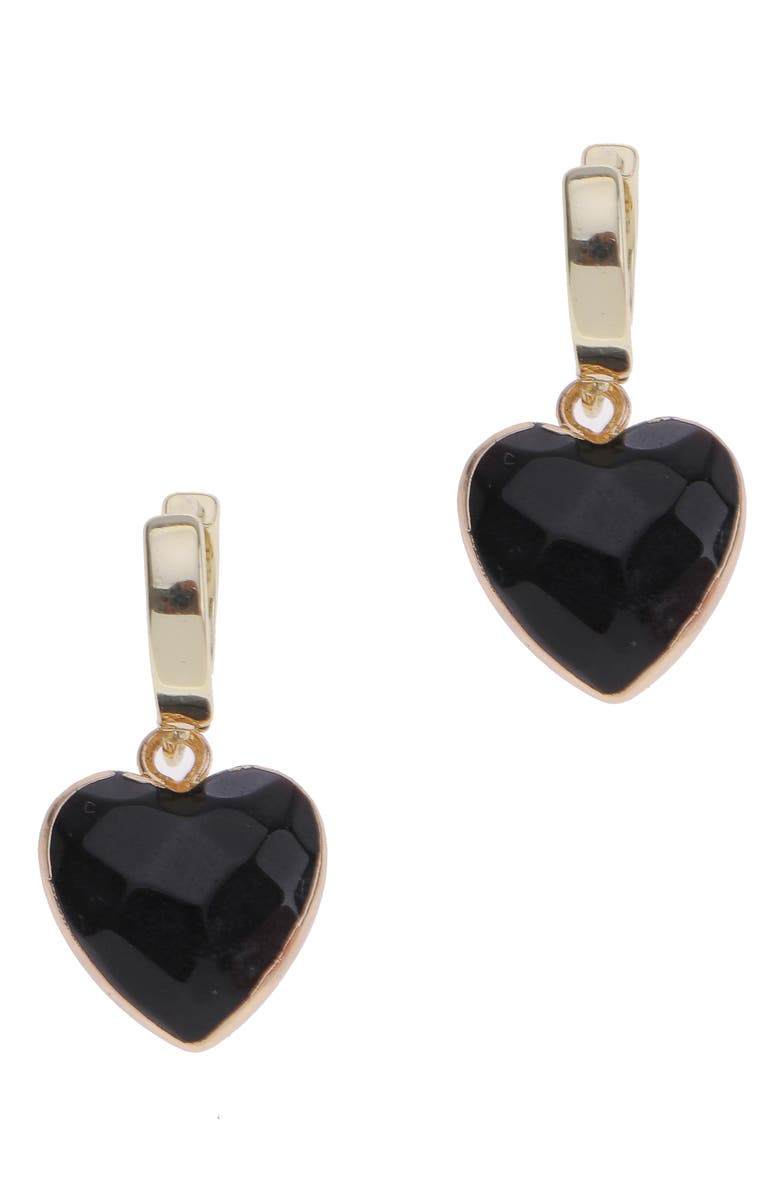 NAKAMOL CHICAGO Heart Stone Huggie Hoop Earrings, Main, color, BLACK/ GOLD