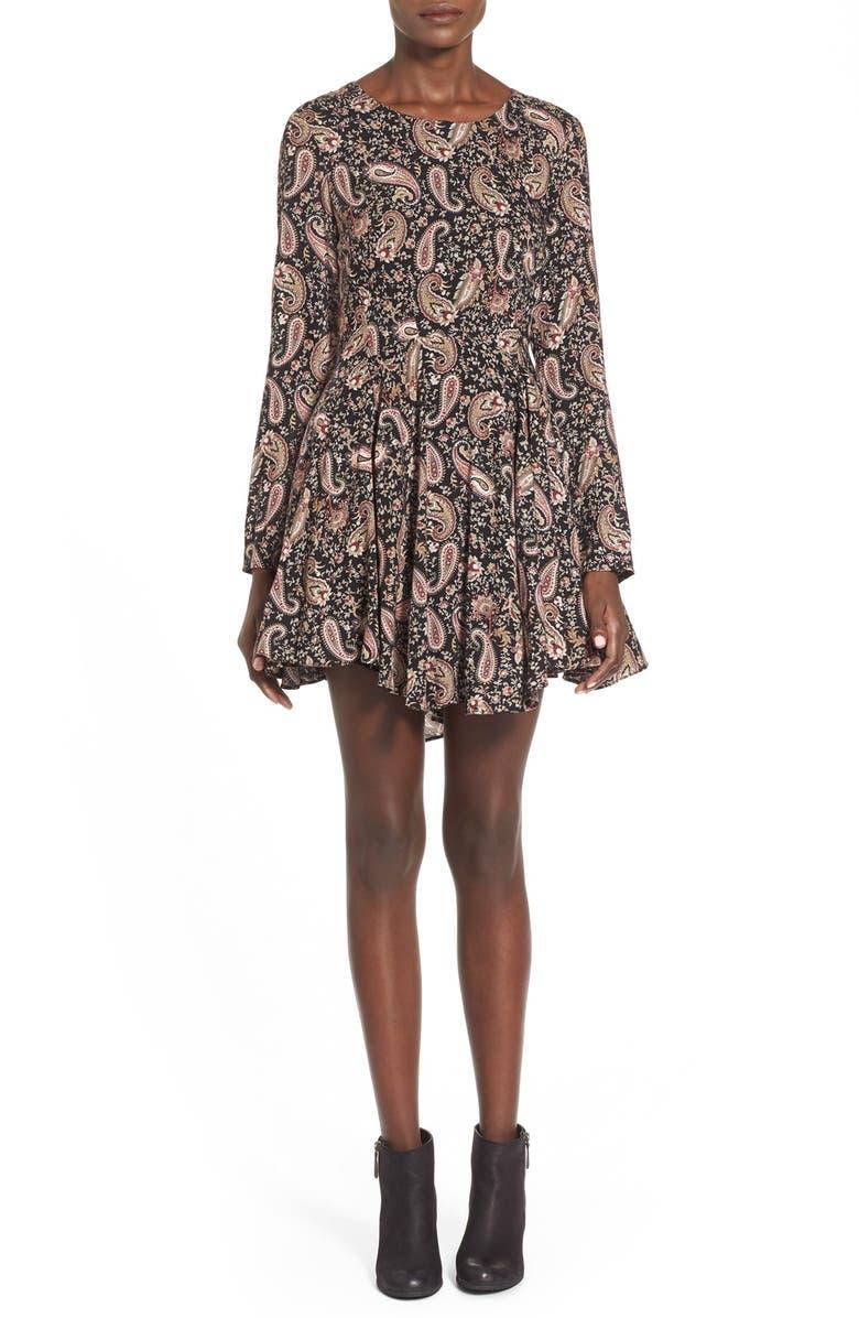 WHYTE EYELASH Print Dress, Main, color, 001