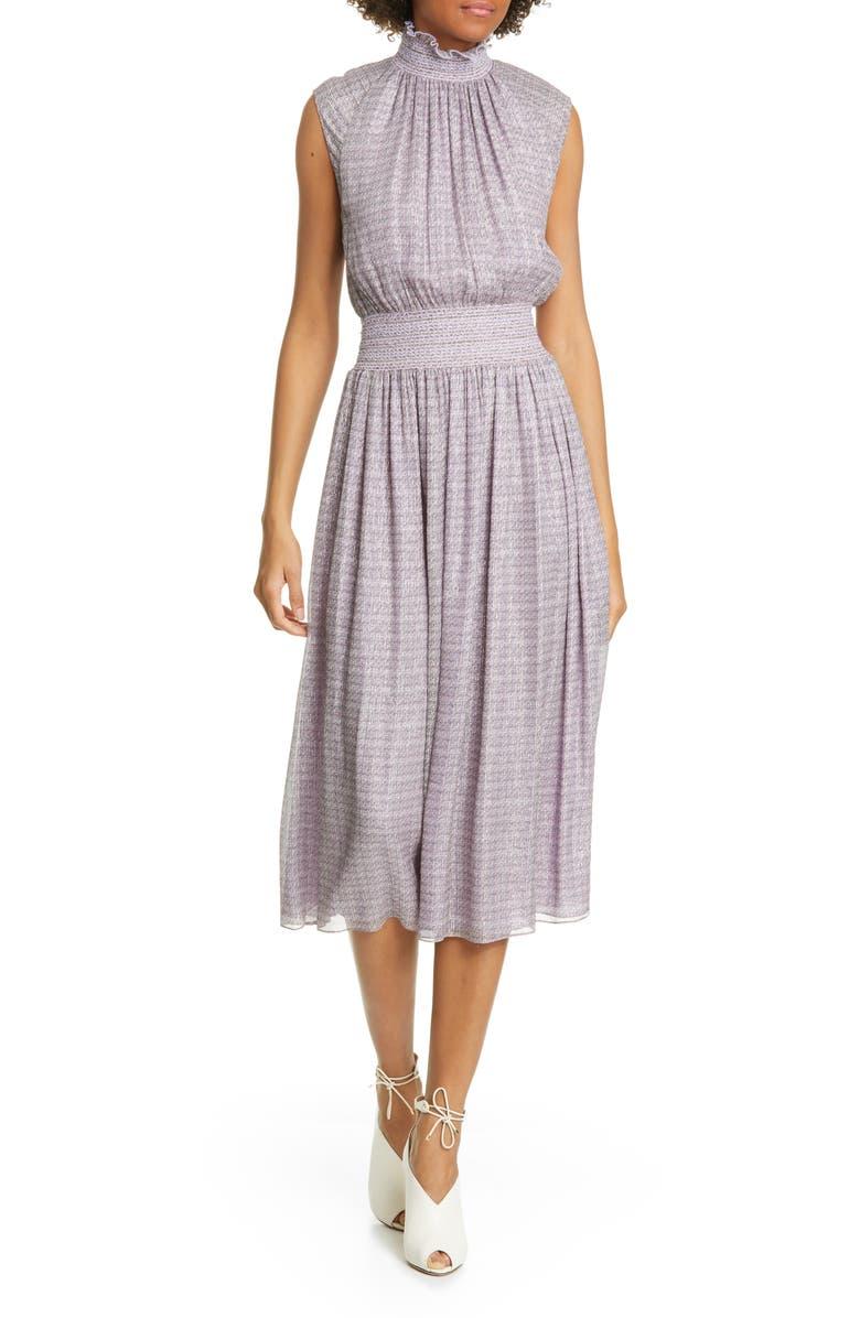 ADAM LIPPES Smocked Metallic Silk Chiffon Midi Dress, Main, color, LAVENDER MULTI