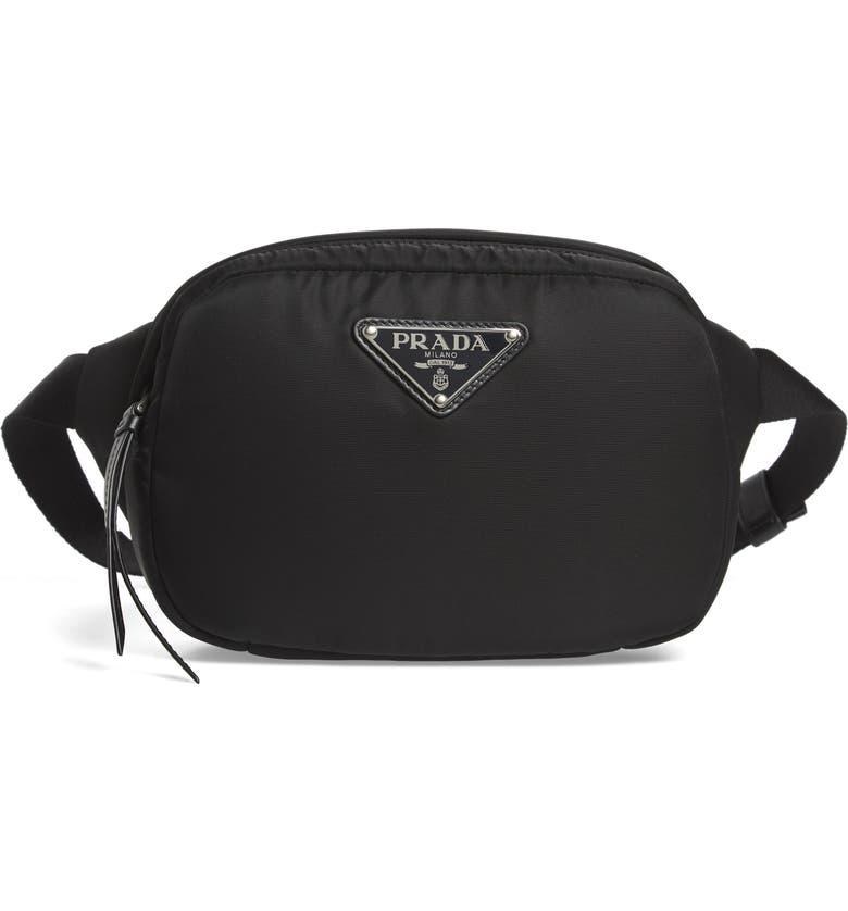 PRADA Tessuto Nylon Belt Bag, Main, color, 001