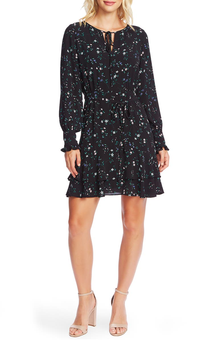 CECE Tossed Floral Long Sleeve Dress, Main, color, 006