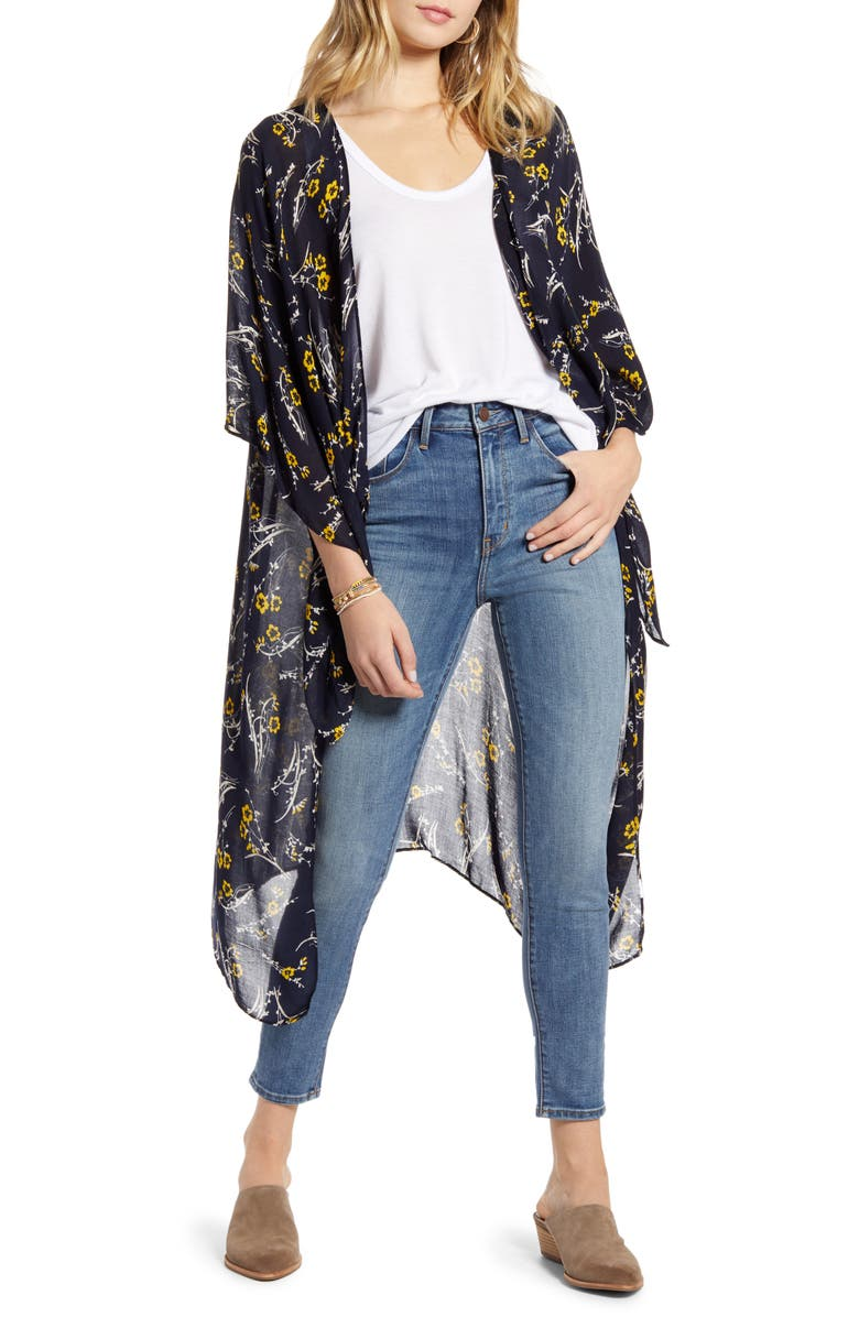 TREASURE & BOND Kite Sleeve Wrap, Main, color, NAVY FALL FLORAL