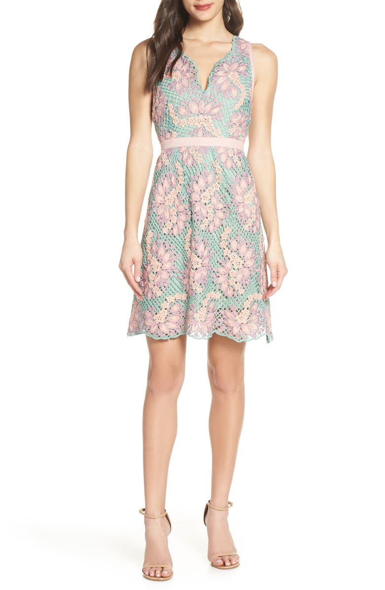 FOXIEDOX Jasmine Lace Fit & Flare Dress, Main, color, GREEN PINK MULTI