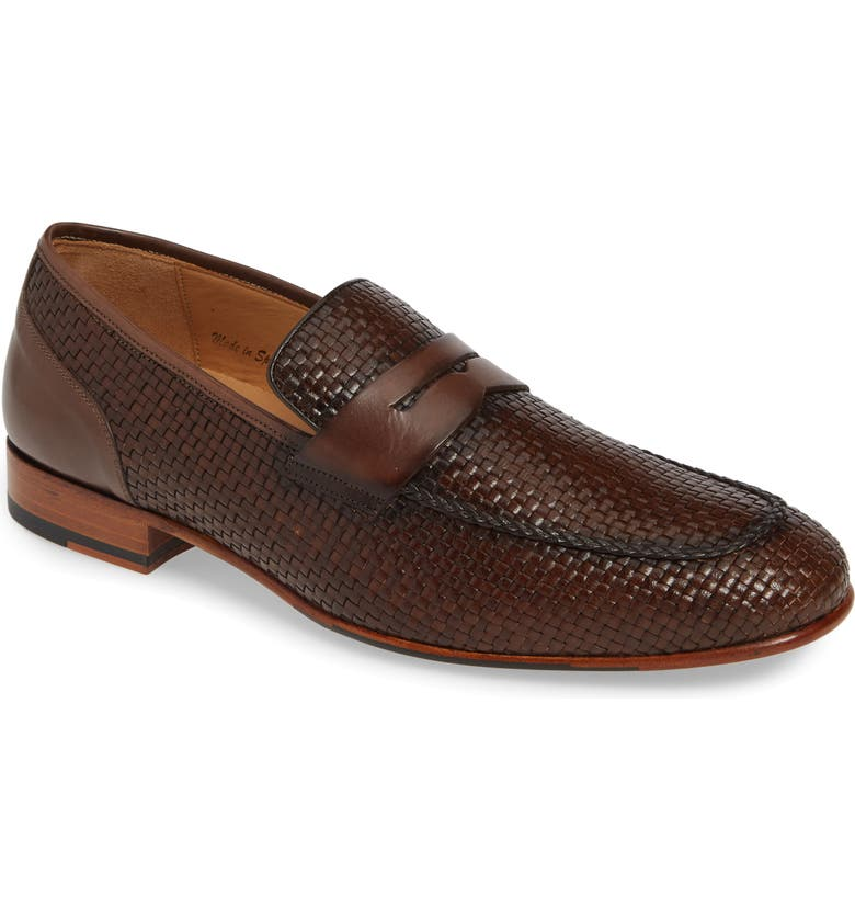 MEZLAN Faro Penny Loafer, Main, color, BROWN LEATHER