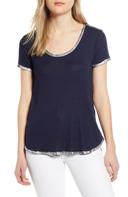 Image of Vince Camuto Scoop Neck Short Sleeve Silver Foil Rib Top