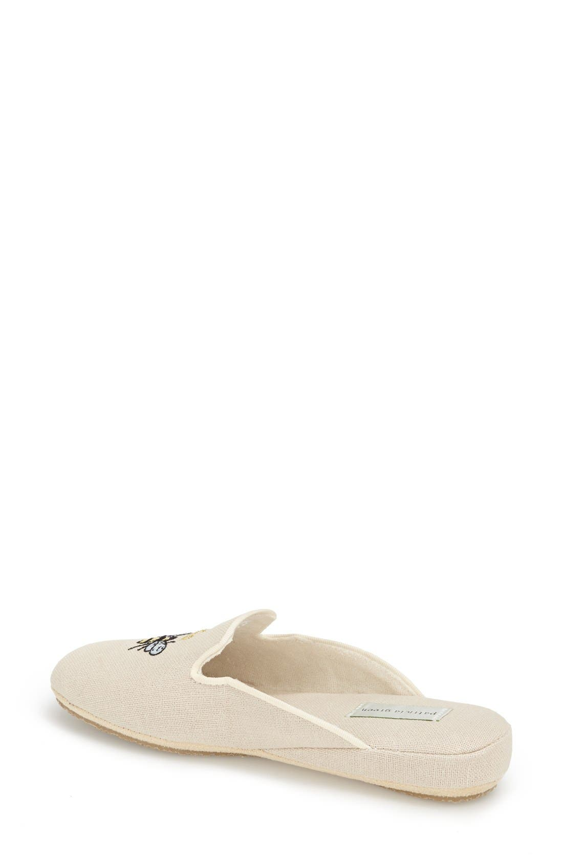 ,                             'Queen Bee' Embroidered Slipper,                             Alternate thumbnail 2, color,                             NATURAL