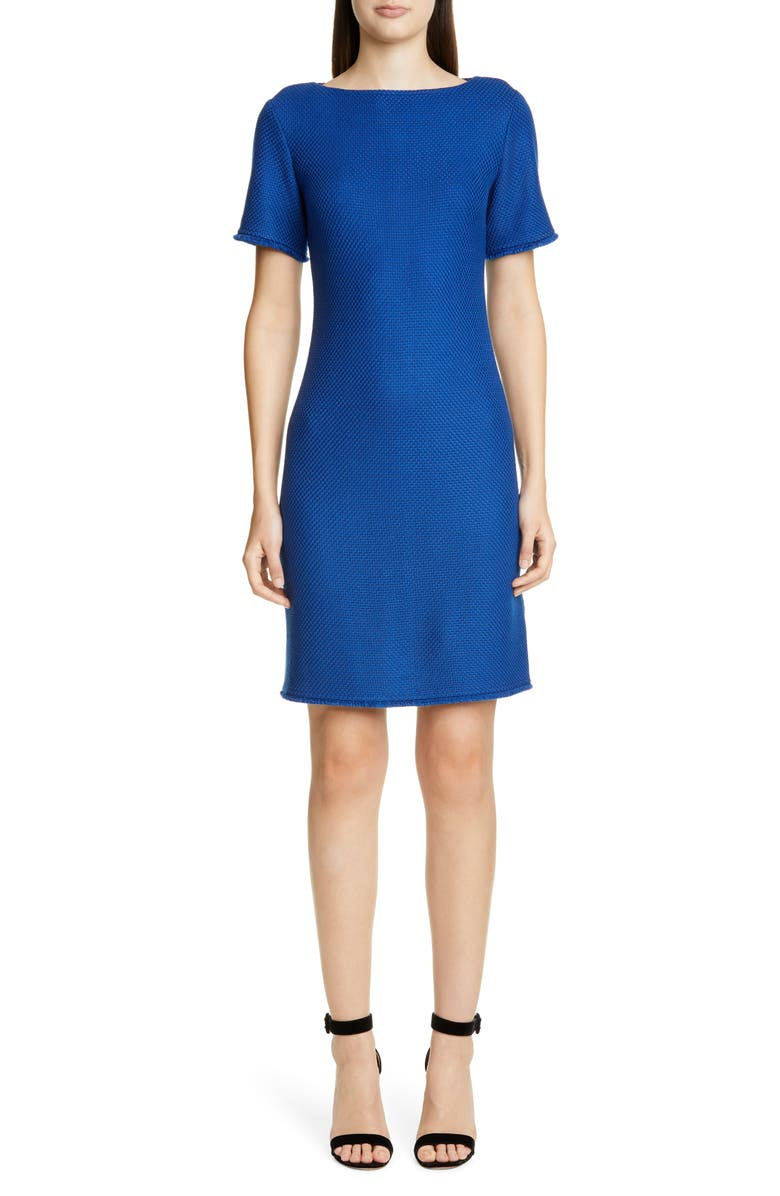ST. JOHN COLLECTION Gridded Texture Knit Sheath Dress, Main, color, PRUSSIAN BLUE