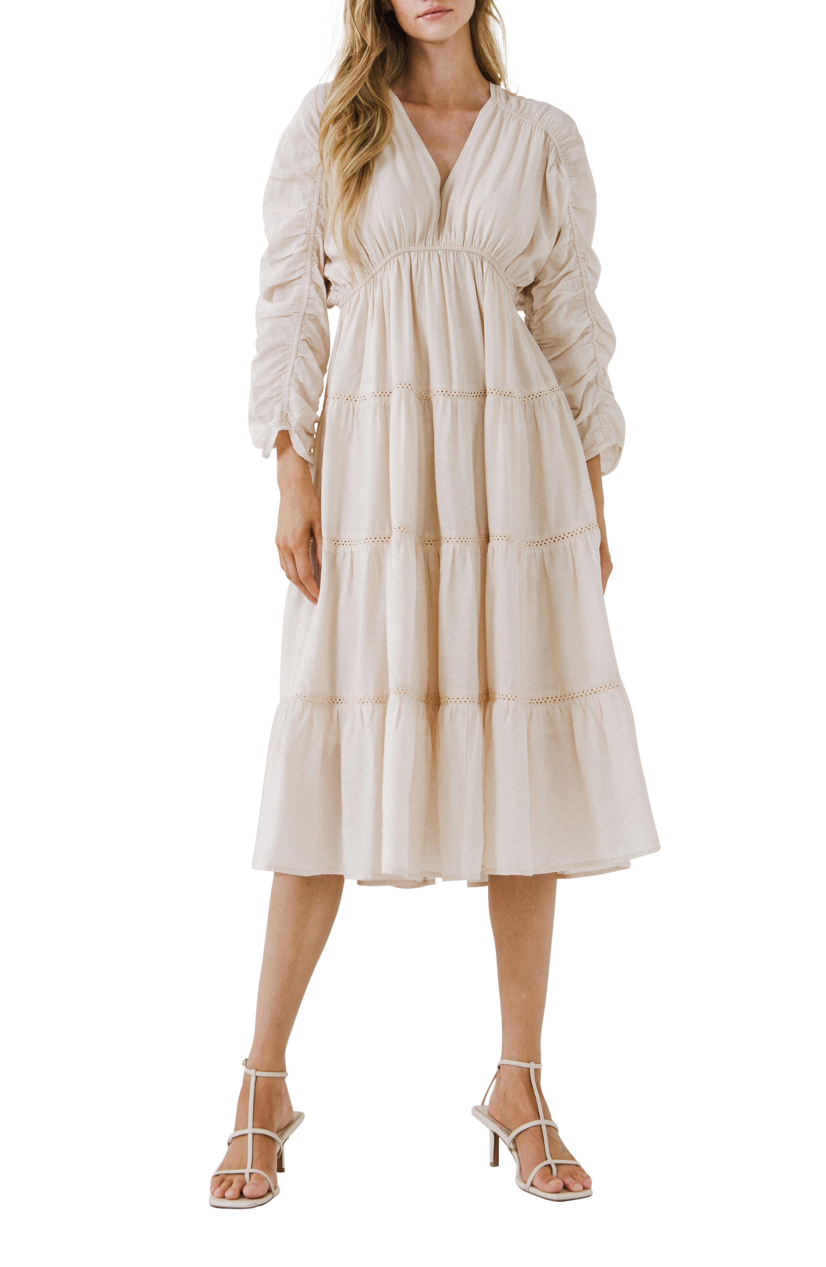 Ruched Sleeve Tiered Ruffle Dress