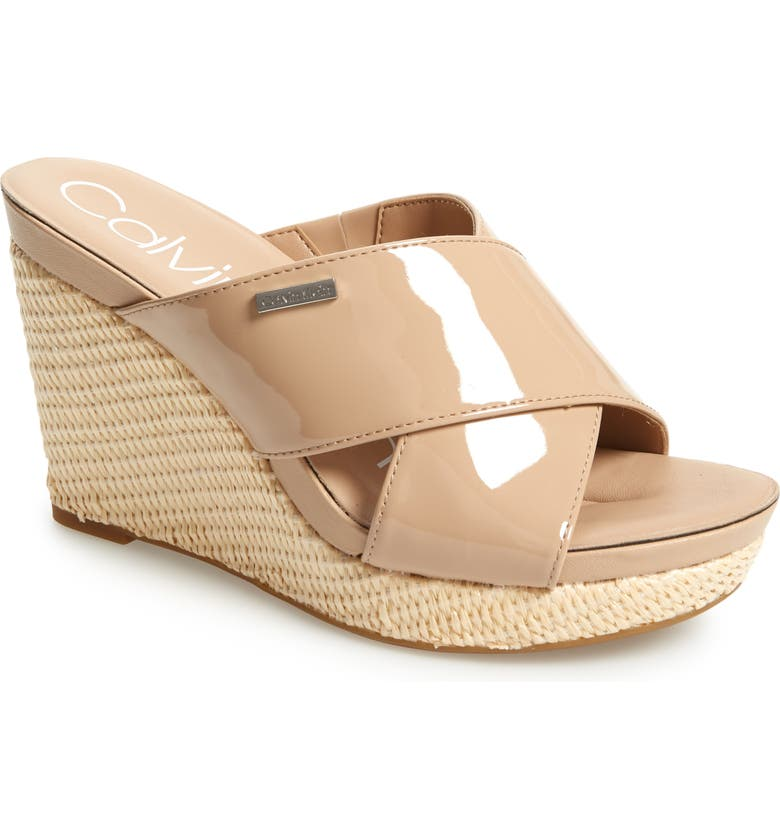 CALVIN KLEIN Jacolyn Wedge Slide Sandal, Main, color, DESERT SAND LEATHER