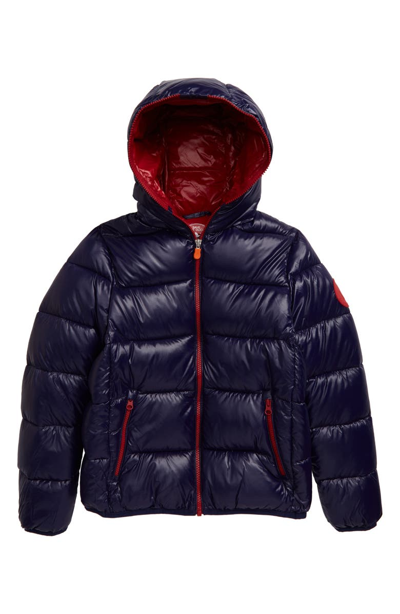 SAVE THE DUCK Quilted Hooded Puffer Jacket, Main, color, EVENING BLUE