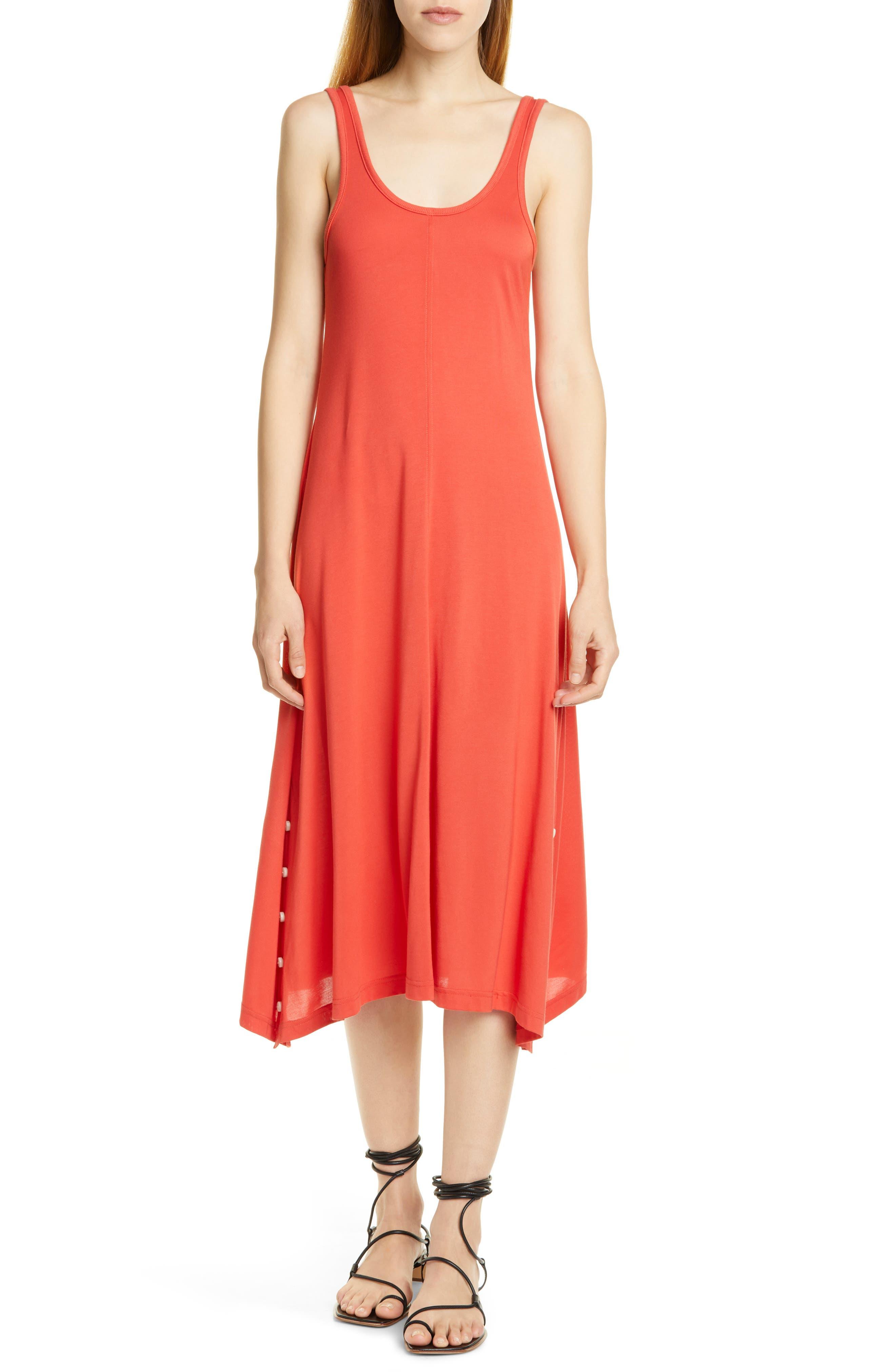 Rag & Bone Allegra Button Hem Midi Dress, Red