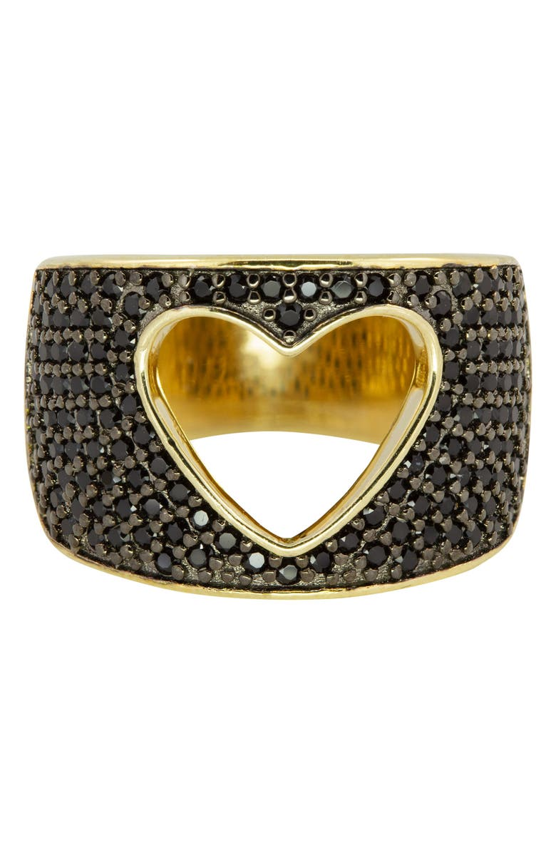 RAGEN JEWELS Cutout Heart Pavé Ring, Main, color, GOLD