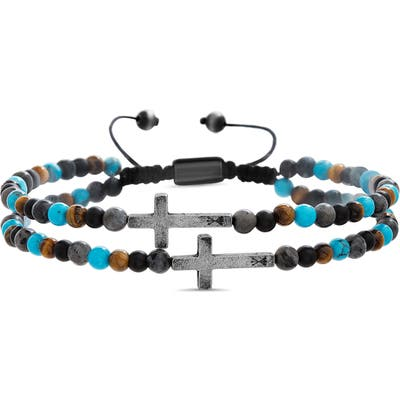 Steve Madden Cross Stone Bead Bracelet