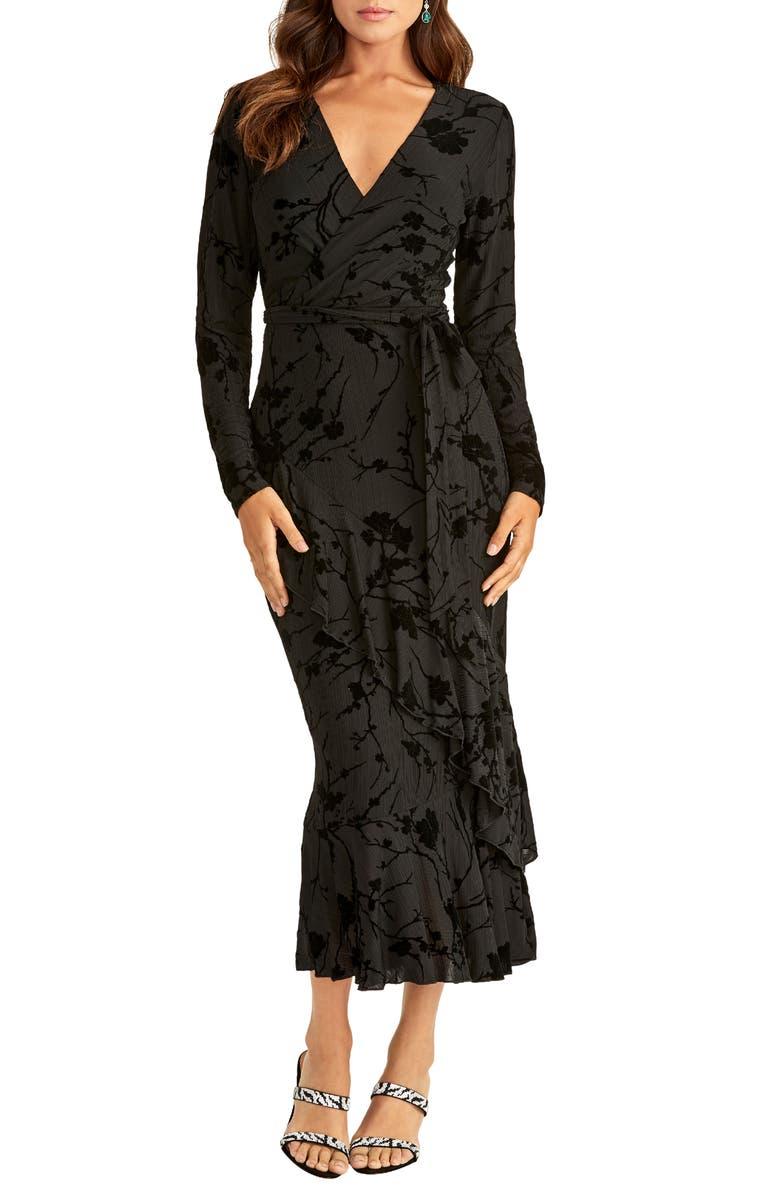 RACHEL RACHEL ROY Flocked Velvet Long Sleeve Faux Wrap Dress, Main, color, 001