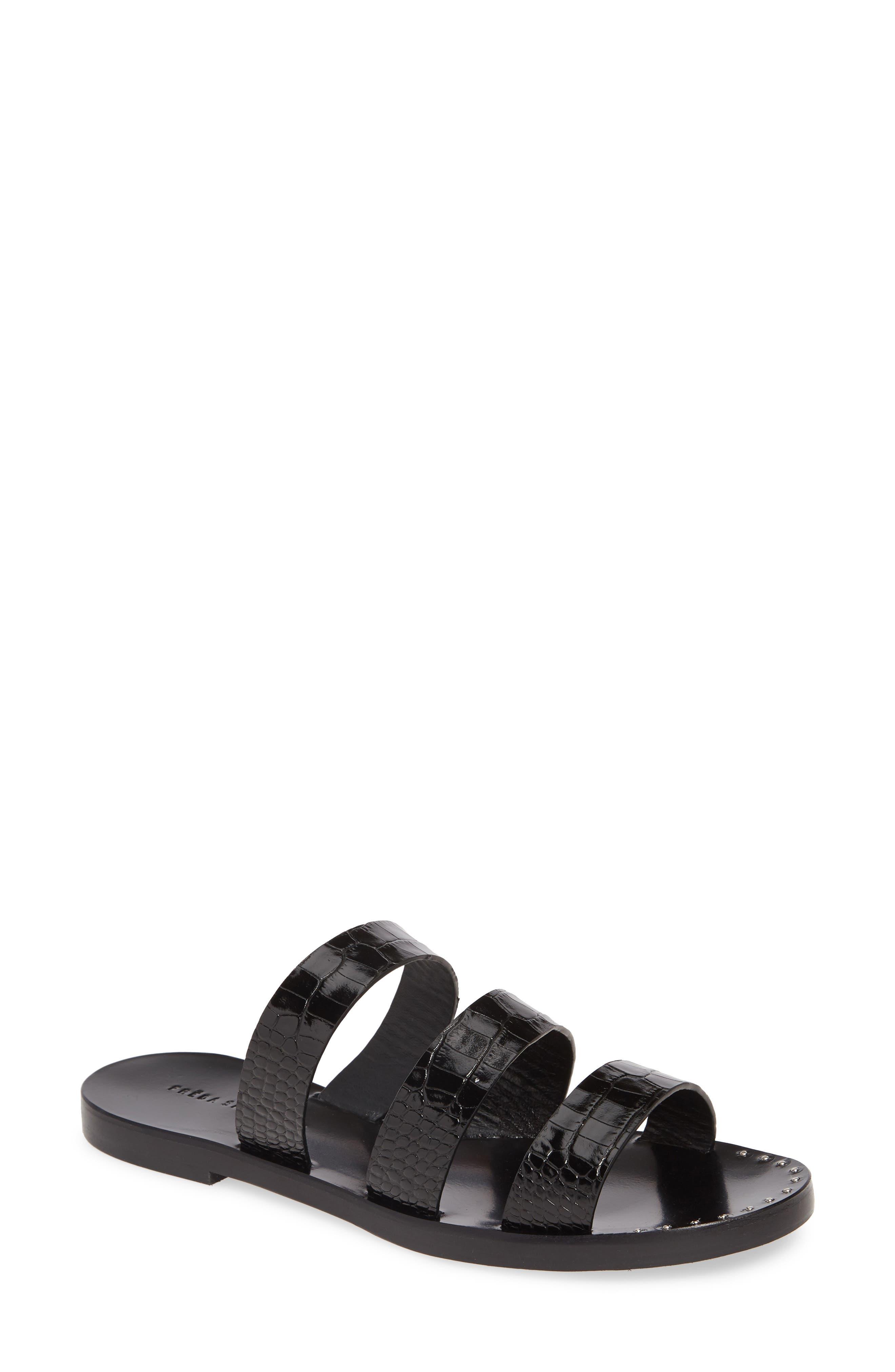 Image of FREDA SALVADOR Iris Embossed Leather Slide Sandal