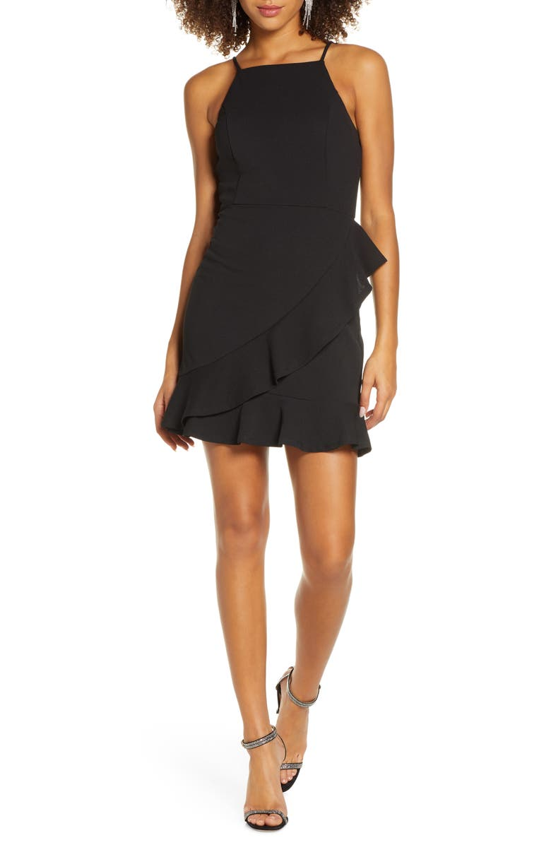 LULUS Great Thing Halter Neck Ruffle Minidress, Main, color, BLACK