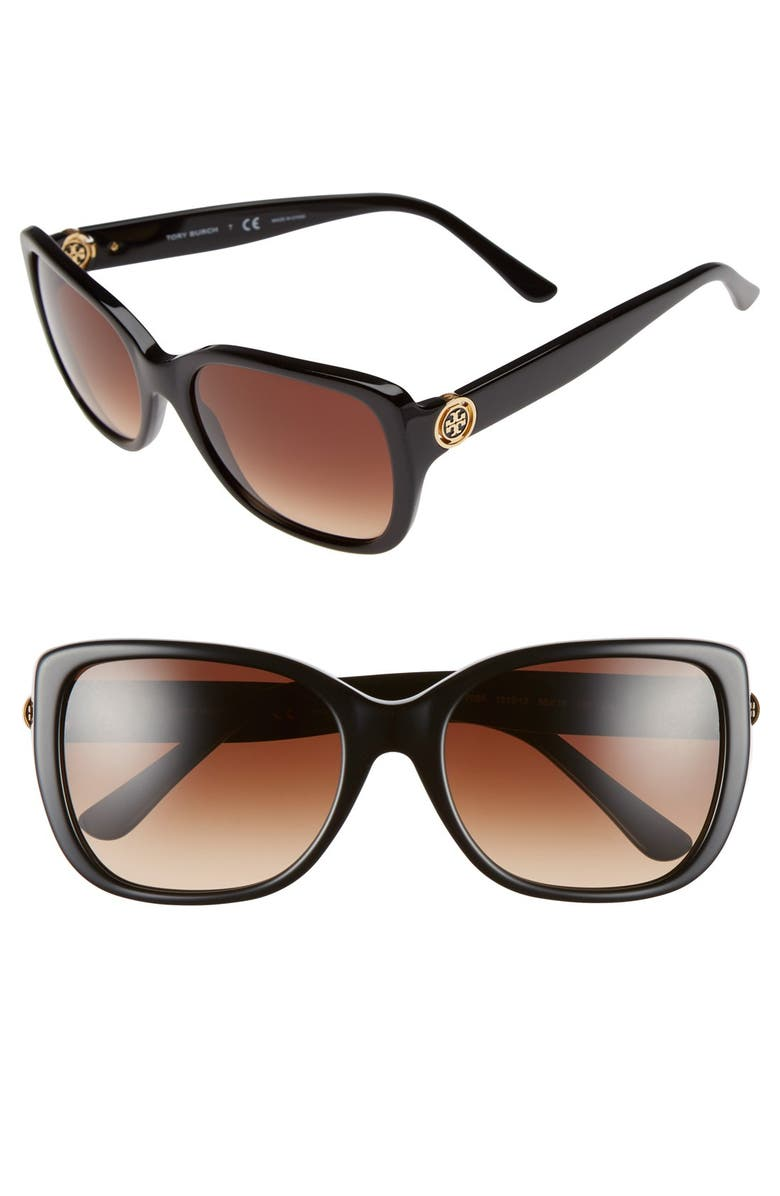 TORY BURCH 55mm Square Sunglasses, Main, color, BLACK
