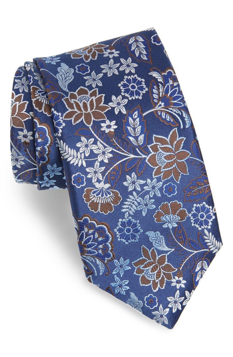 CANALI Floral Silk Tie, Main, color, DARK BLUE