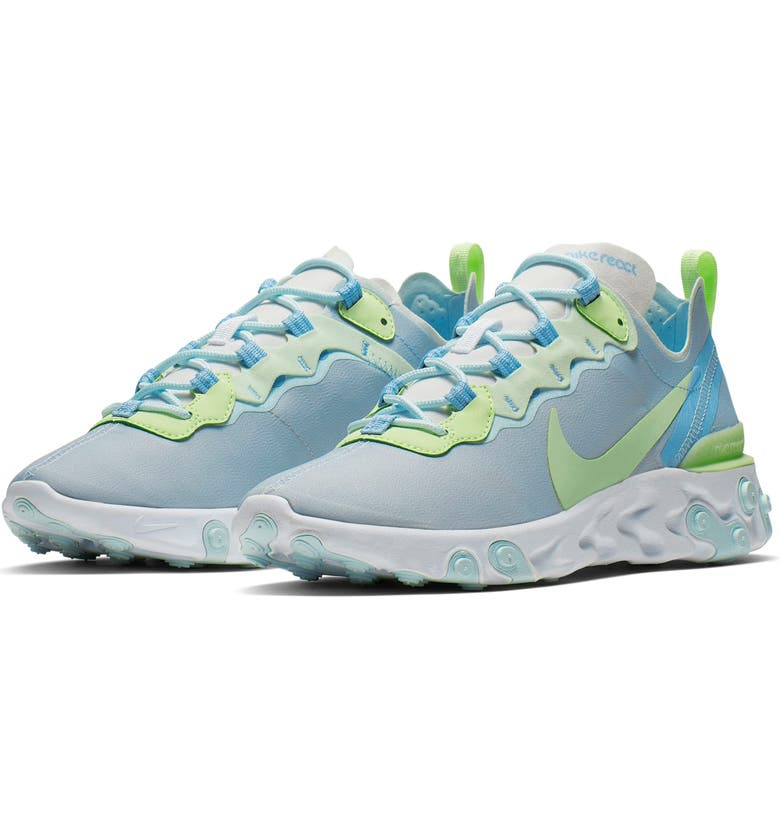NIKE React Element 55 Sneaker, Main, color, WHITE/ FROSTED SPRUCE/ VIOLET