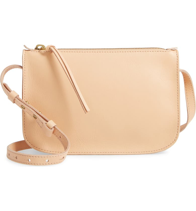 MADEWELL The Simple Leather Crossbody Bag, Main, color, LINEN