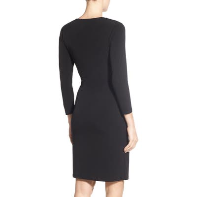 Anne Klein Faux Wrap Jersey Dress, Black