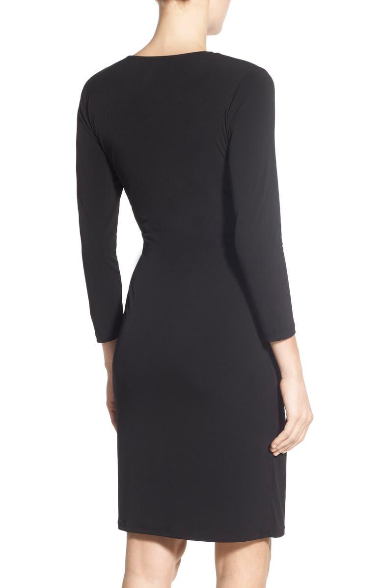 ANNE KLEIN Faux Wrap Jersey Dress, Main, color, BLACK