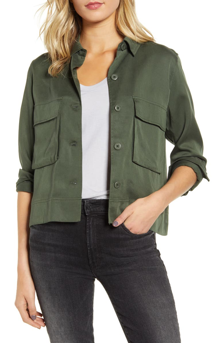 BB DAKOTA Bravo Zulu Lyocell Army Jacket, Main, color, ARMY GREEN
