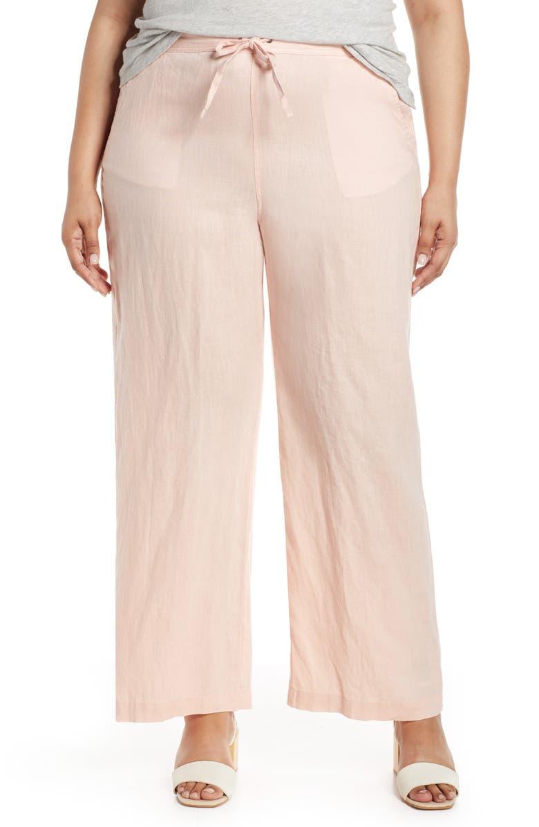 VINCE CAMUTO Wide Leg Linen Pants, Main, color, CORAL BUFF