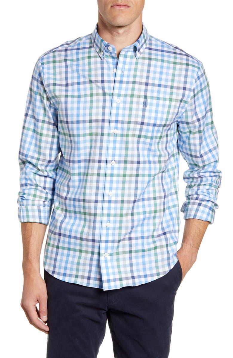JOHNNIE-O Jackson Classic Fit Plaid Button-Down Shirt, Main, color, WAKE
