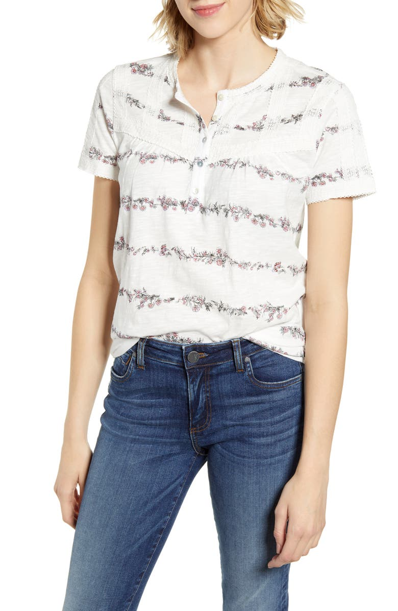 LUCKY BRAND Lace Trim Popover Top, Main, color, 100