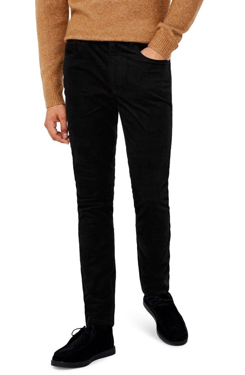 TOPMAN Microcord Skinny Fit Pants, Main, color, 001