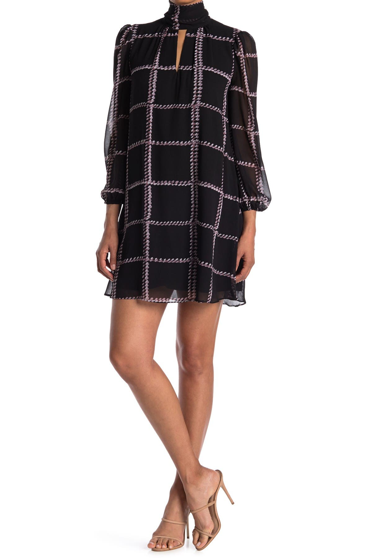 Image of London Times Sheer Chiffon Check Print Shift Dress