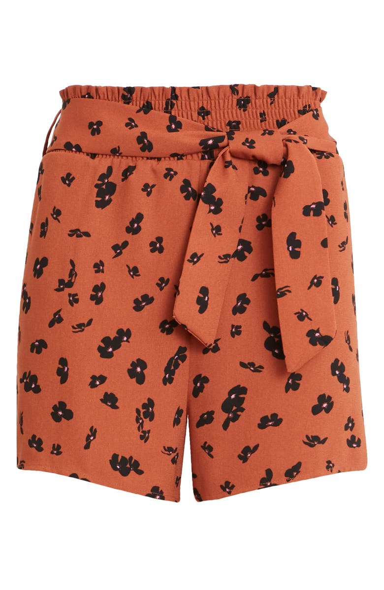 LEITH Tie Waist Smocked Shorts, Main, color, RUST CLAY FLORAL DRIFT