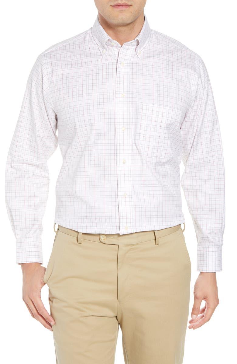 GITMAN Tailored Fit Plaid Dress Shirt, Main, color, WHITE/ BURGUNDY