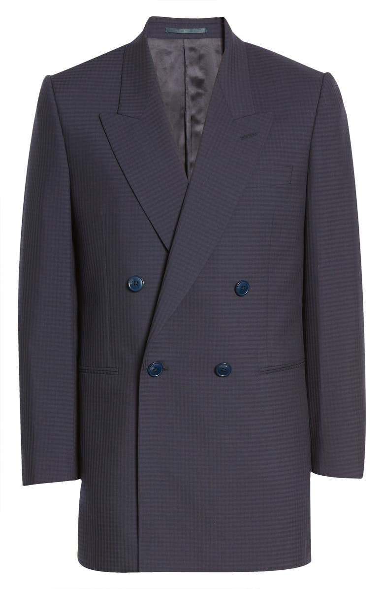 MARTINE ROSE Bobby Double Breasted Wool Blazer, Main, color, NAVY CHECK