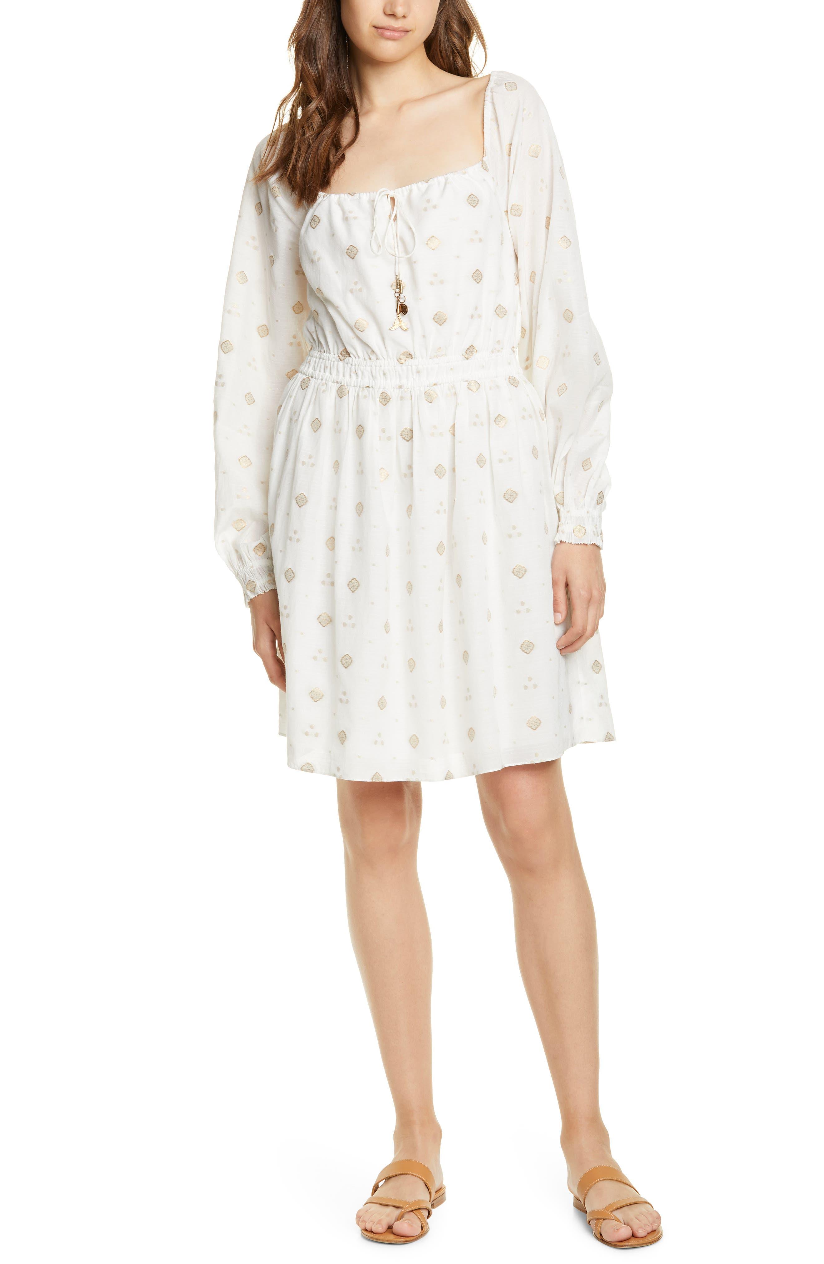 Joie Metallic Dot Long Sleeve Dress, White