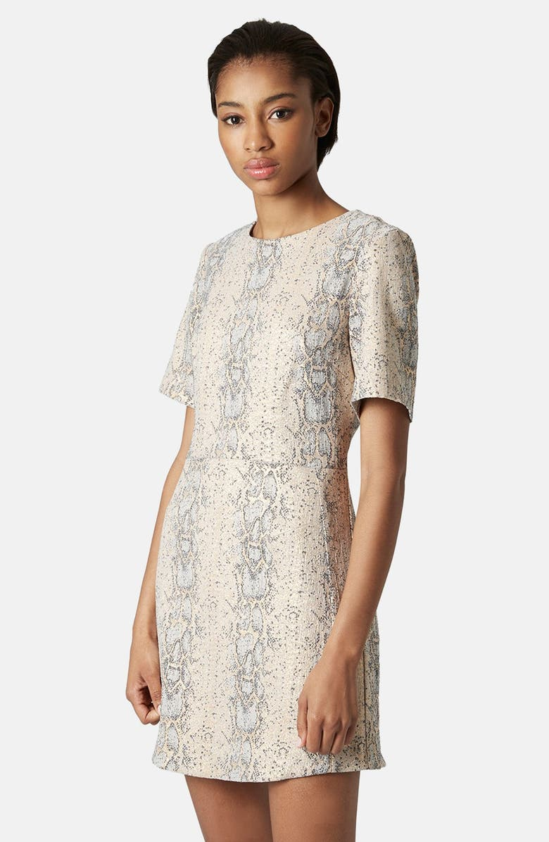TOPSHOP Snake Jacquard A-Line Dress, Main, color, 710