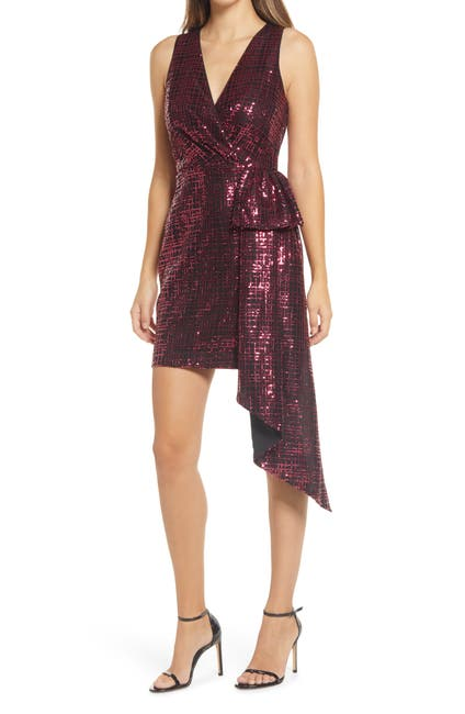 Image of ONE33 SOCIAL Sequin Bow Front Sleeveless Sheath Cocktail Dress