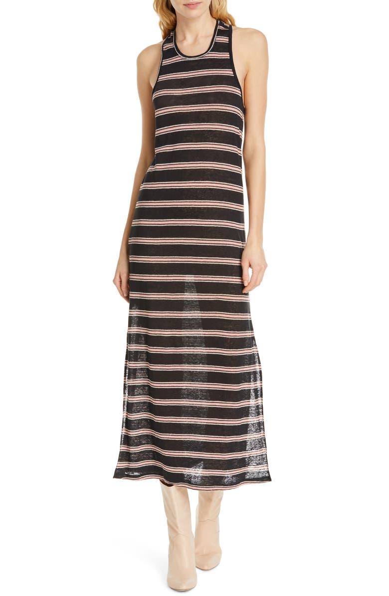 JOIE Brellen Twist Back Linen Tank Dress, Main, color, 001