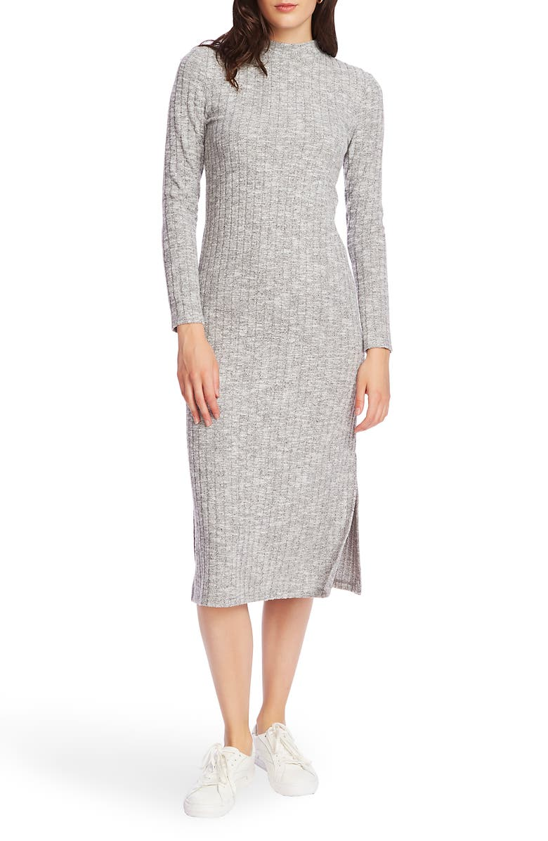 COURT & ROWE Cozy Wide Rib Long Sleeve Sweater Dress, Main, color, SILVER HEATHER